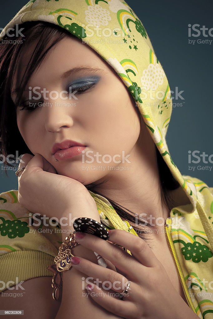 Girl in the hood royalty-free stock photo