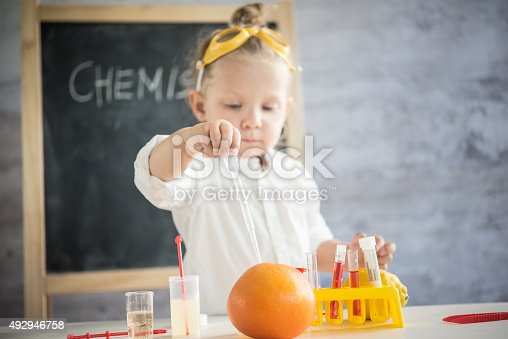 istock Girl in the laboratory of food quality tests 492946758