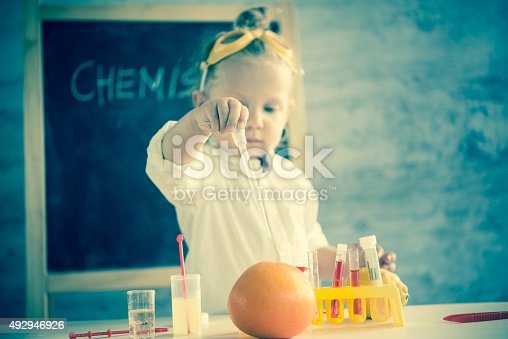 istock Girl in the laboratory of food quality tests 492946926