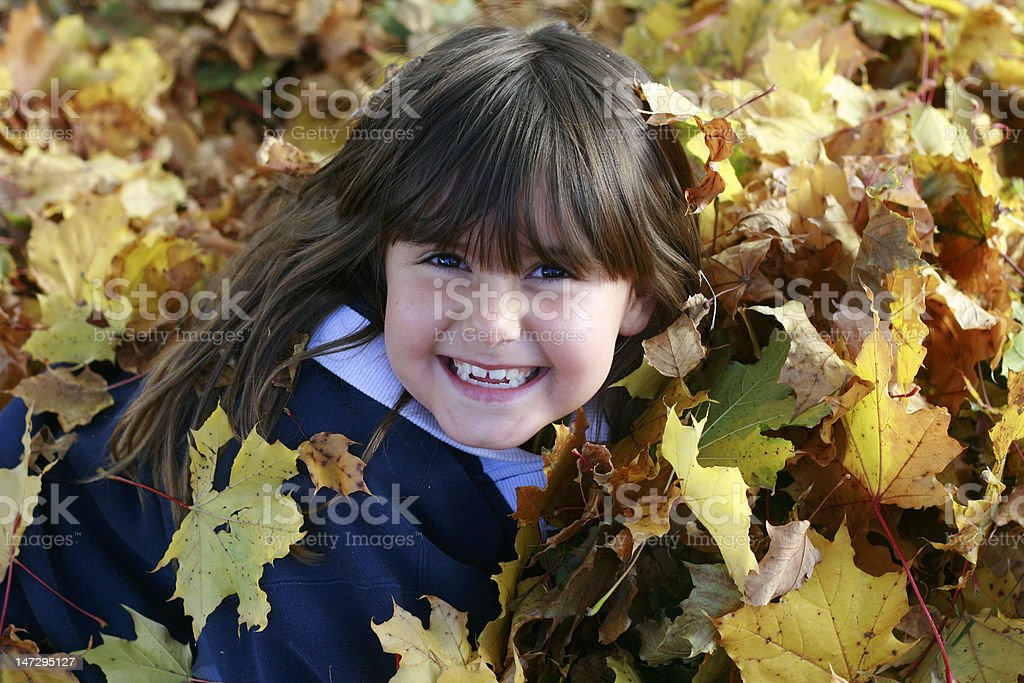 Girl in the leaves stock photo