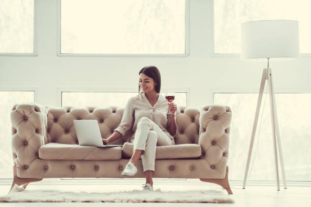 Girl in the living room stock photo