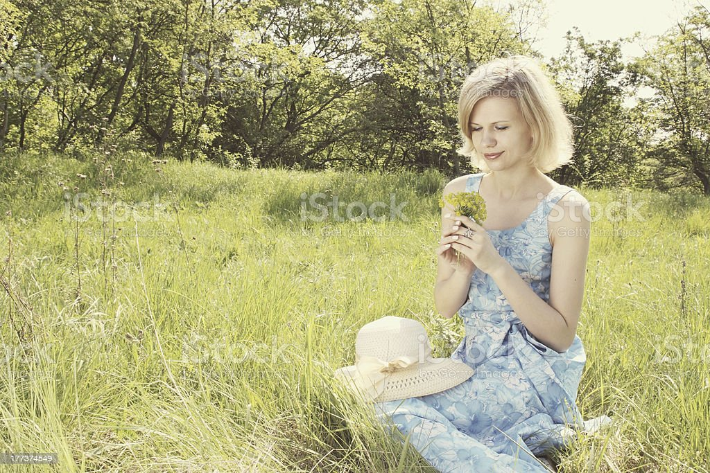 girl in the meadow royalty-free stock photo