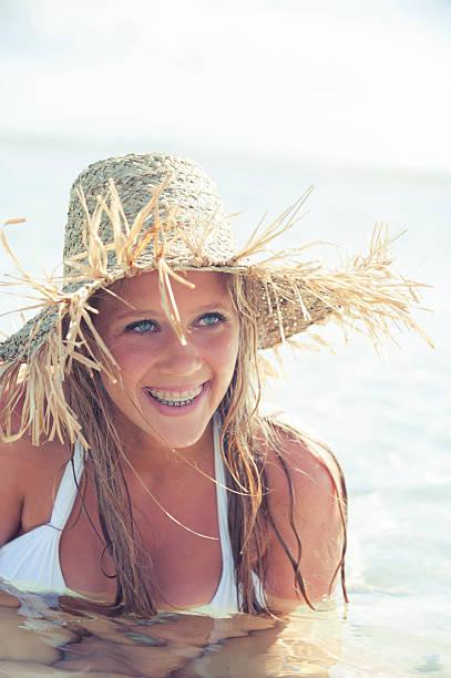 Royalty Free Teenage Girl With Braces Wearing Bikini -5391