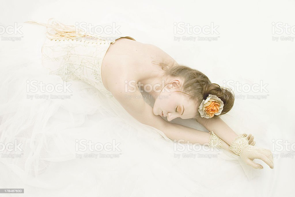 Girl in the old dress, ballerina royalty-free stock photo