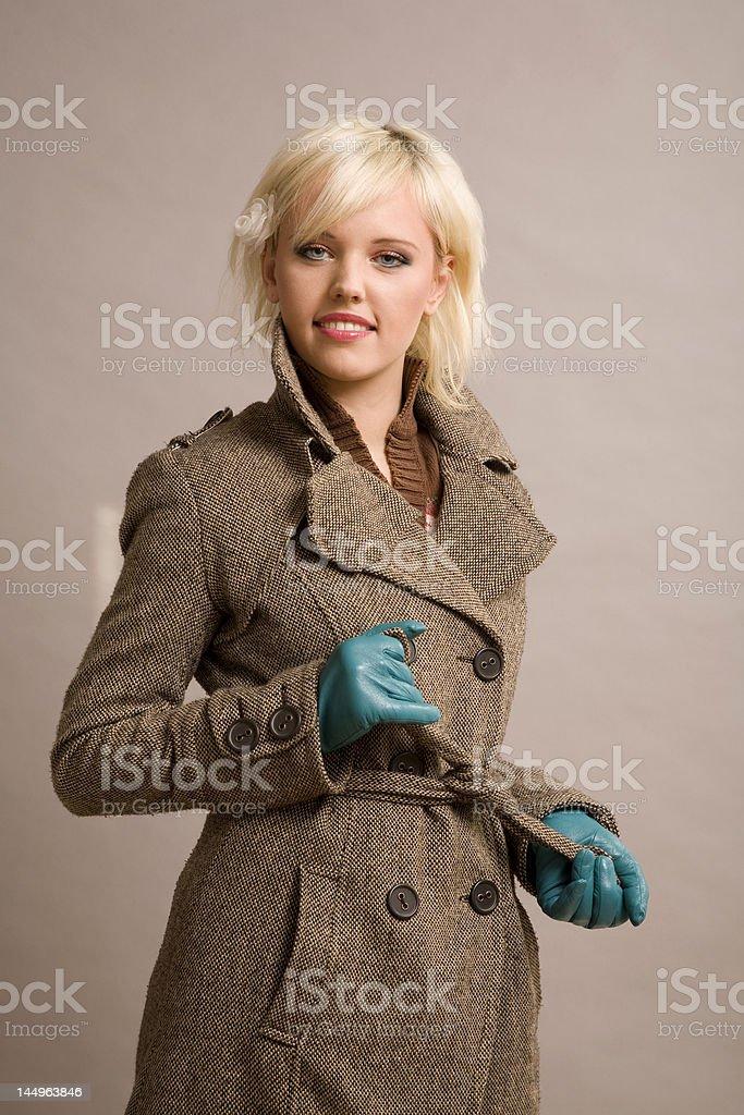 girl in the overcoat stock photo
