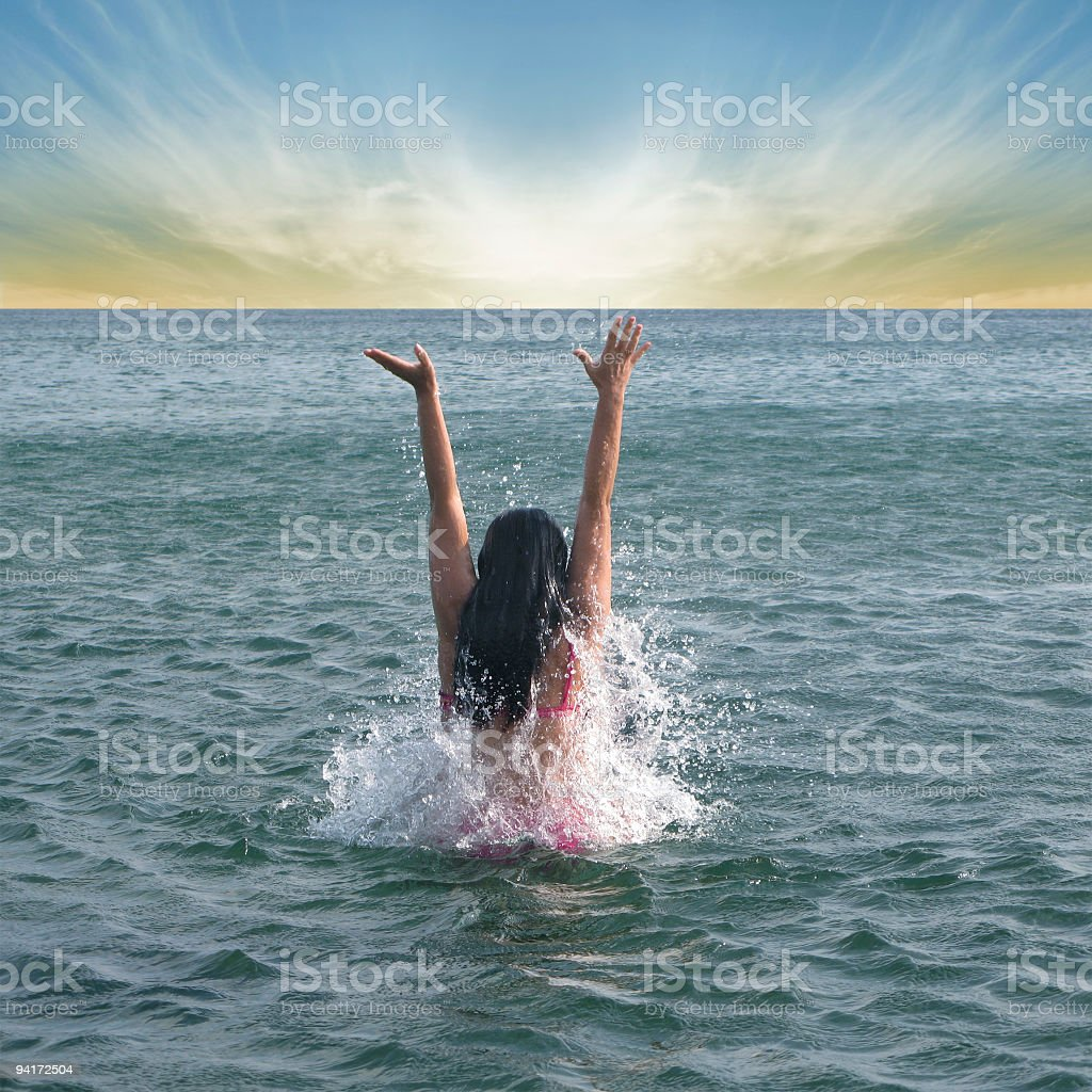 Girl in the sea 2 royalty-free stock photo