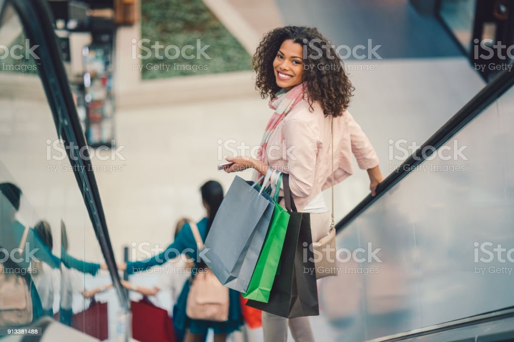Girl in the shopping center stock photo