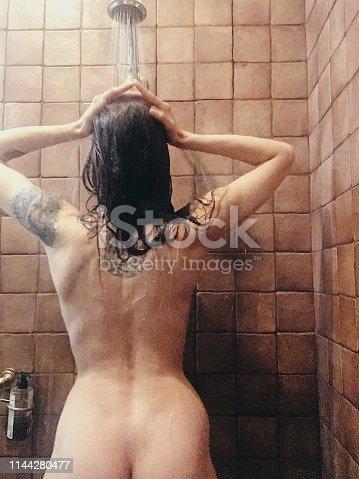 Shower, Women, Bathtub, Washing