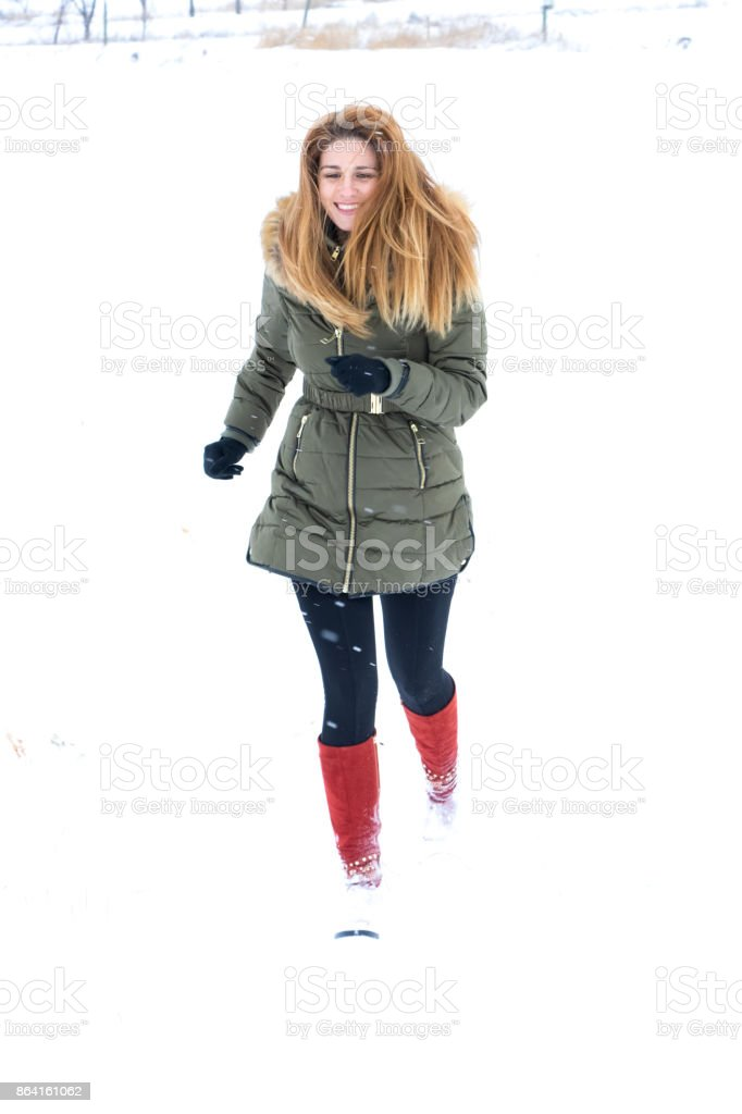 Girl in the snow royalty-free stock photo