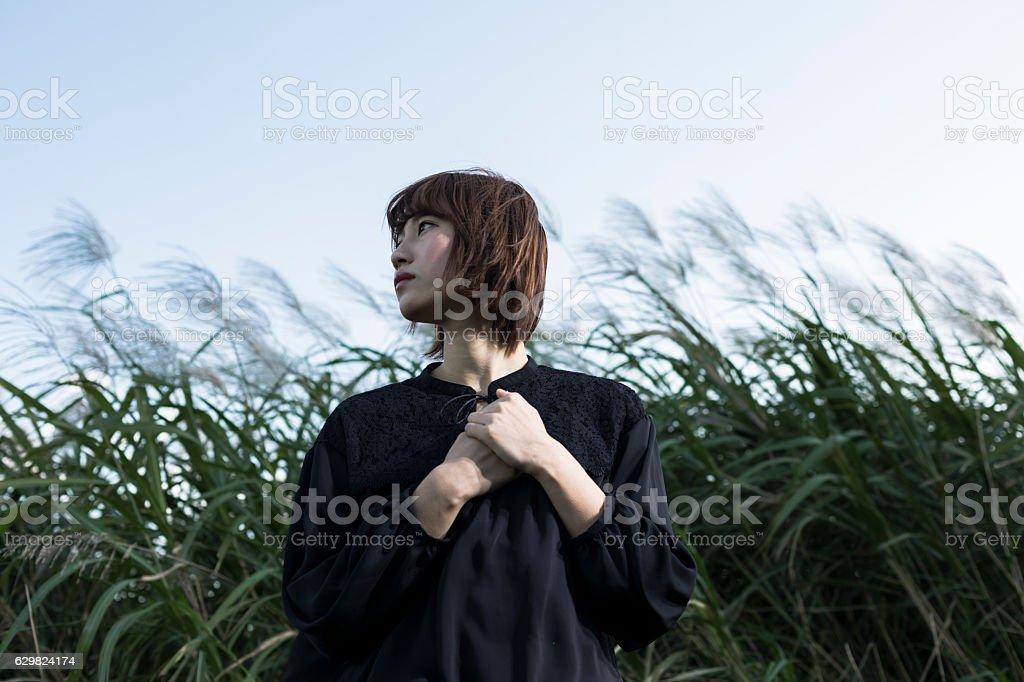 Girl の風 ストックフォト