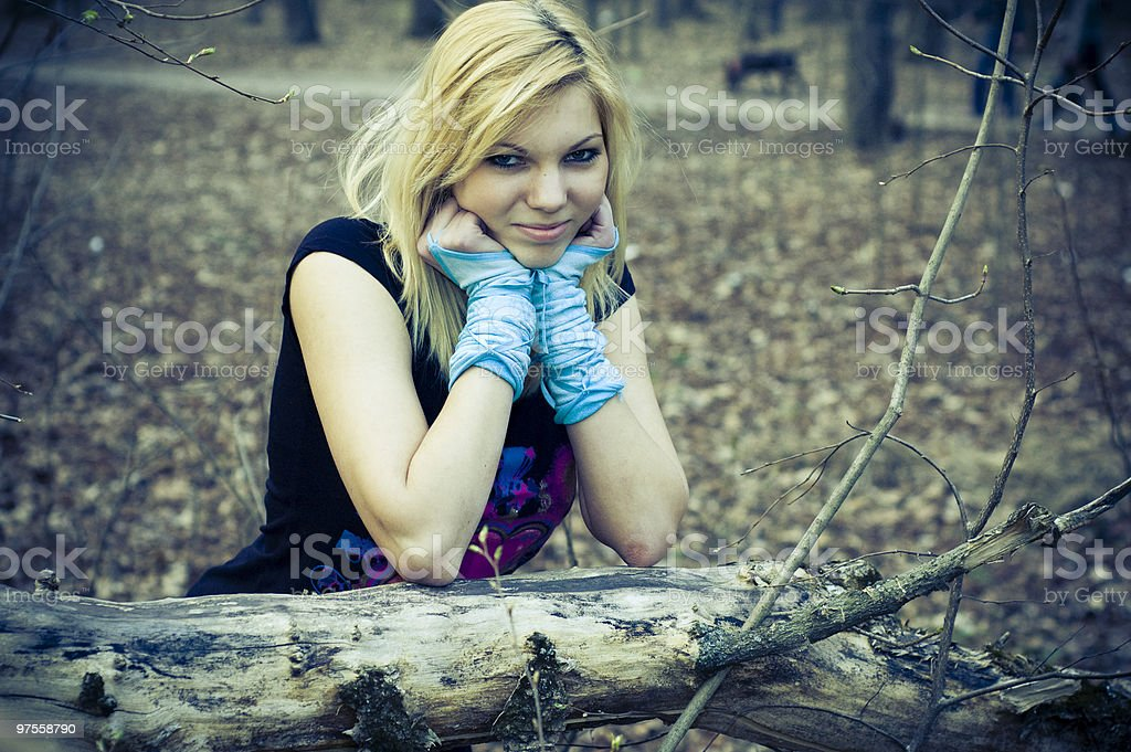 girl in the woods royalty-free stock photo