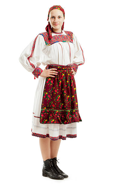girl in traditional costume - eastern european culture stock photos and pictures
