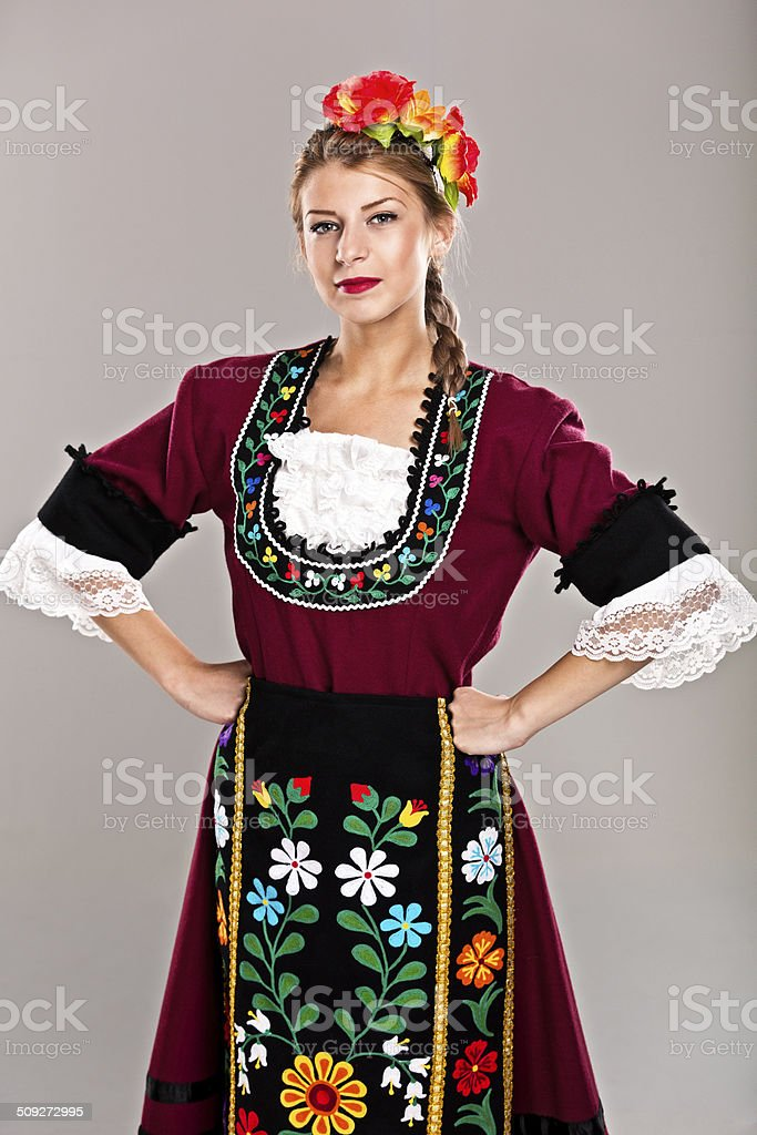 Girl in traditional dress stock photo