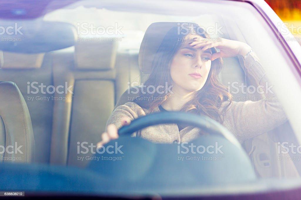Girl in traffic stock photo