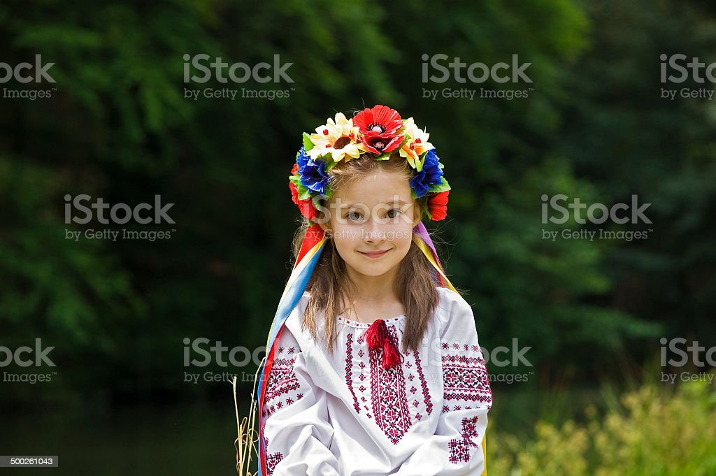 girl in ukrainian national costume stock photo