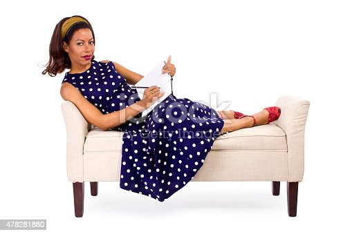 istock Girl in Vintage Polka Dot Dress With Diary or Sketchbook 478281880