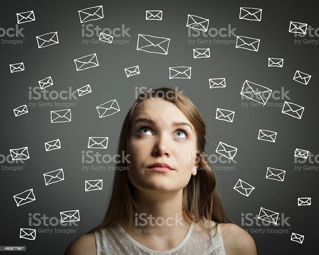 Girl in white and letters stock photo