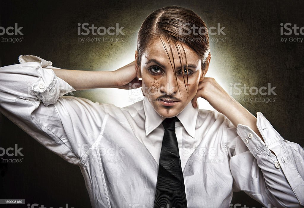girl in white shirt and false mustache on her face stock photo