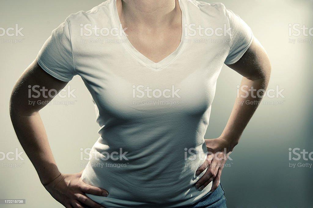 girl in white tee shirt series stock photo