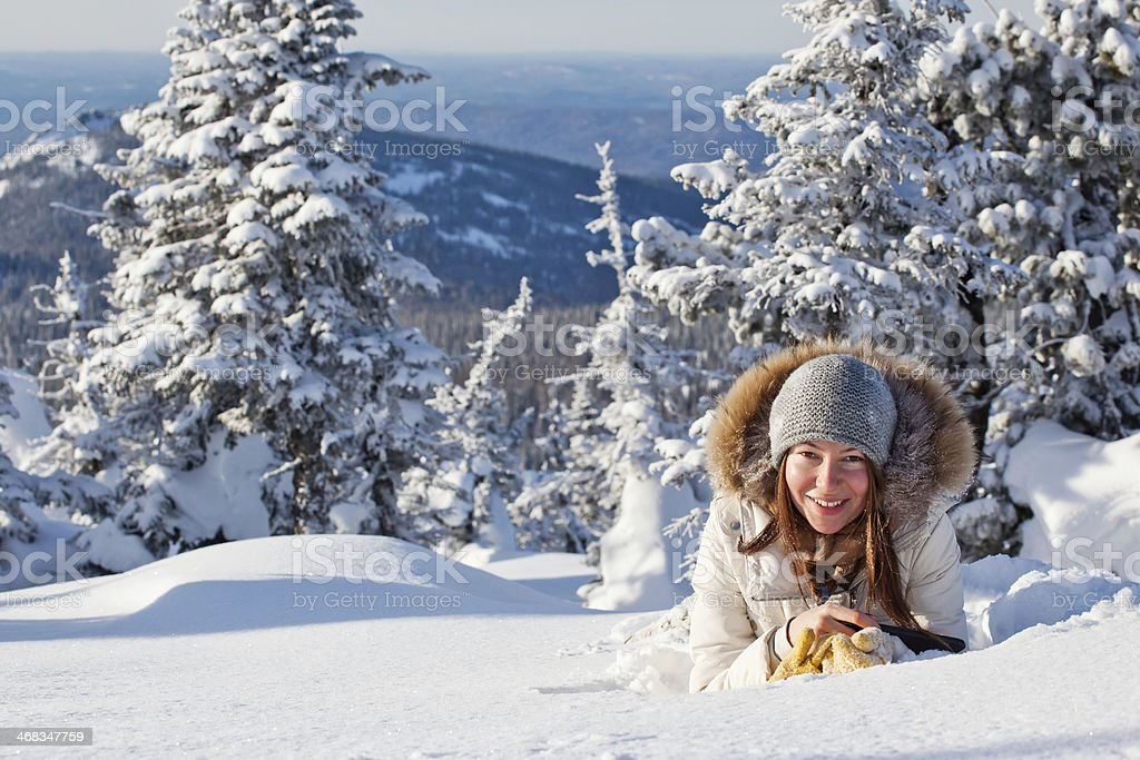 girl in winter forest royalty-free stock photo