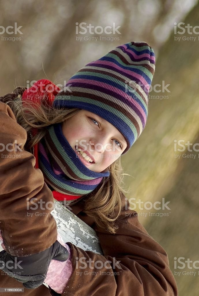 Girl in Winter Hat & Scarf stock photo