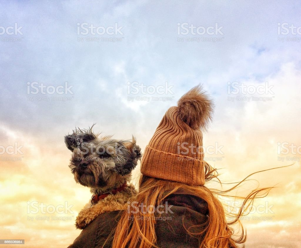 Girl in Wooly Hat holding her dog on a windy day stock photo