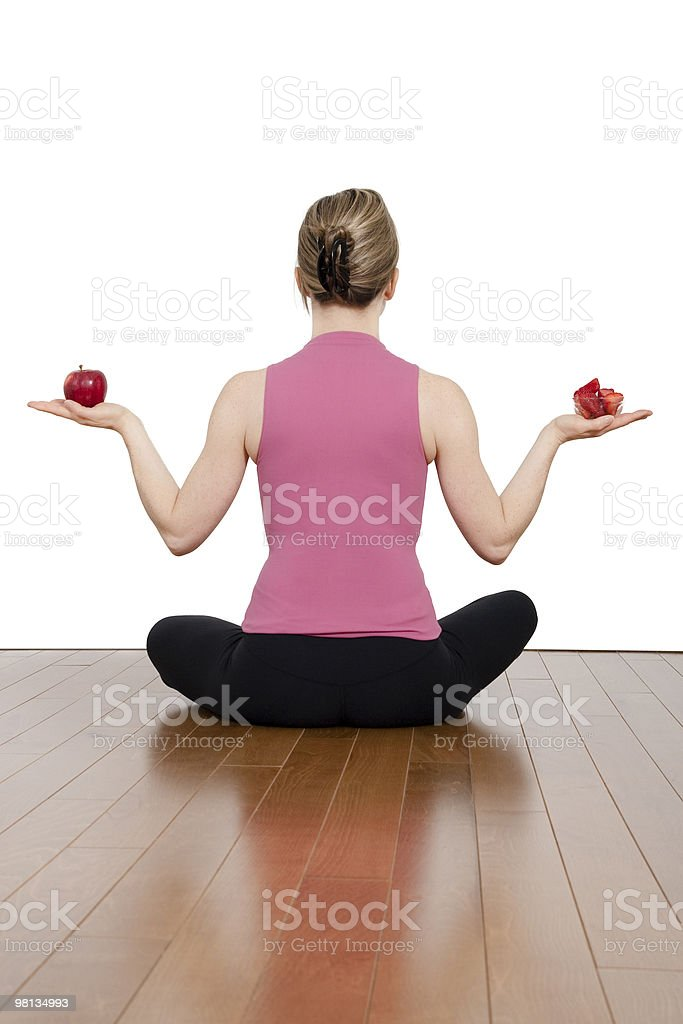 Girl in yoga stance royalty-free stock photo
