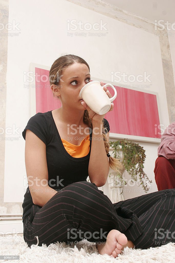 girl is drinking coffee royalty-free stock photo
