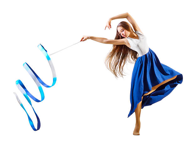 Girl is engaged in art gymnastics isolated stock photo