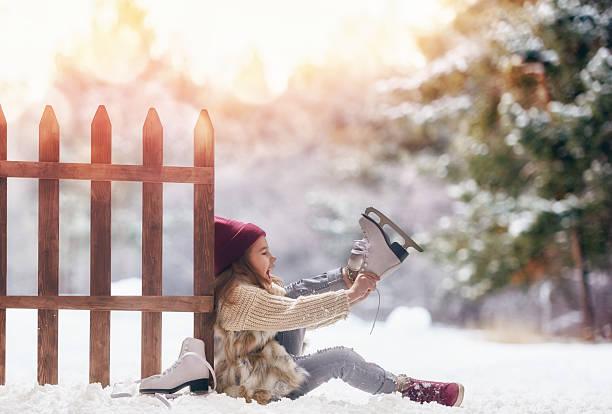 girl is going skate stock photo
