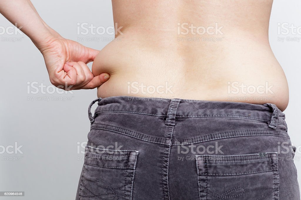 girl is holding her fat side. result of improper diet stock photo