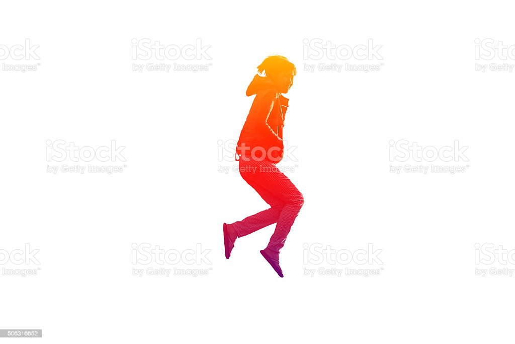 Girl is jumping stock photo