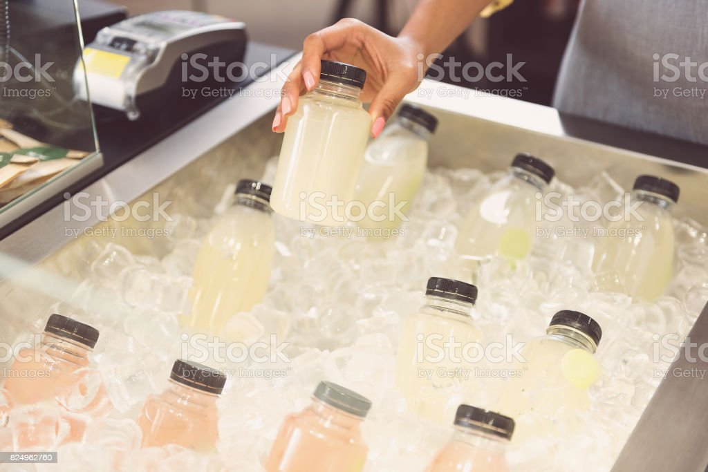 Girl is keeping product of organic store stock photo
