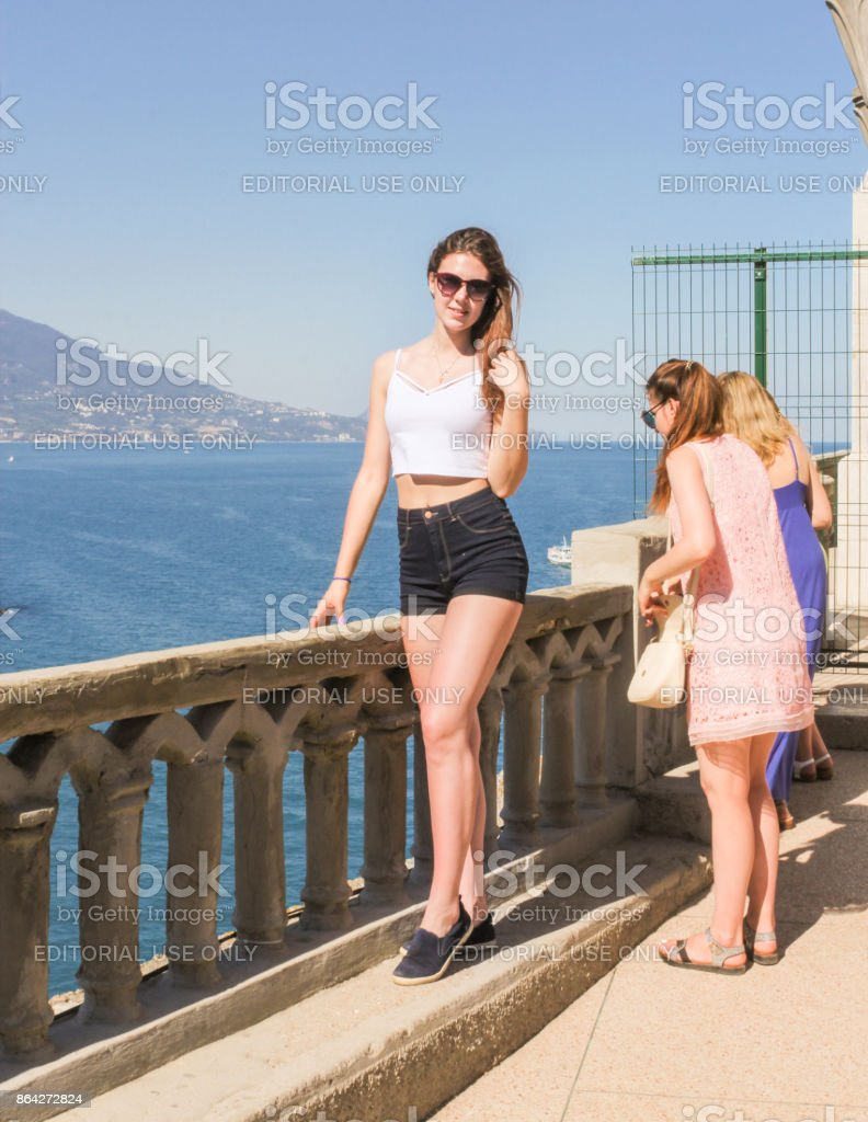 A girl is posing by the fence. royalty-free stock photo