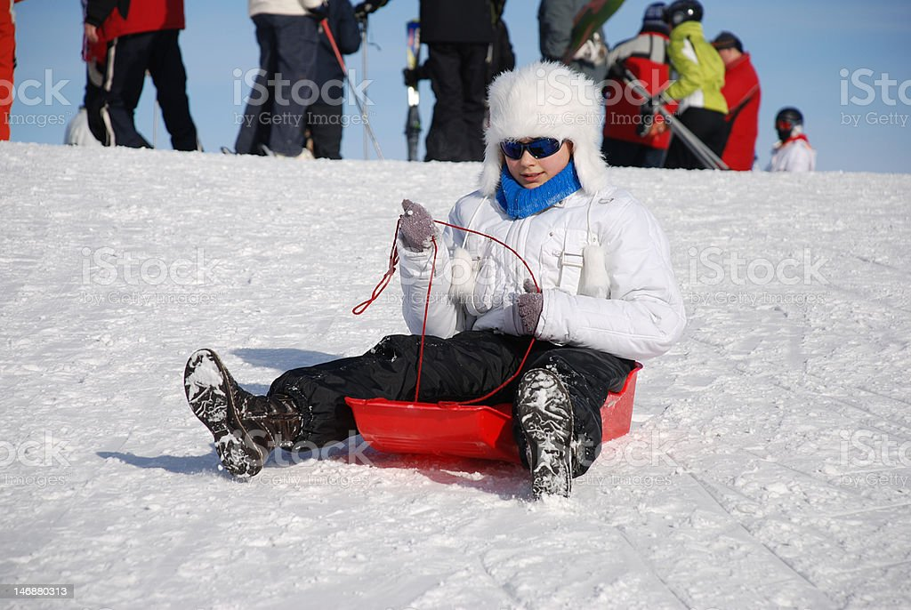 Girl is riding a sleigh. royalty-free stock photo