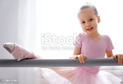 istock girl is studying ballet. 1128473785