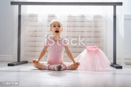 istock girl is studying ballet. 1128473799