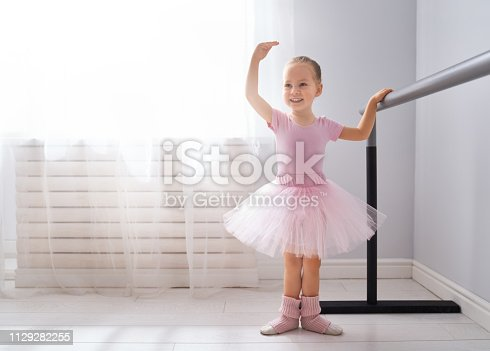 istock girl is studying ballet. 1129282255
