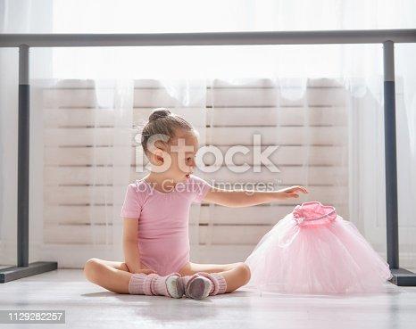 istock girl is studying ballet. 1129282257