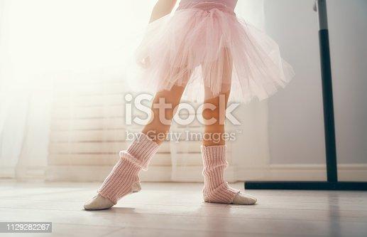 istock girl is studying ballet. 1129282267