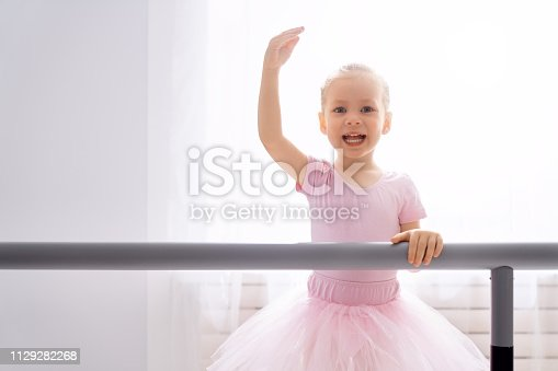 istock girl is studying ballet. 1129282268