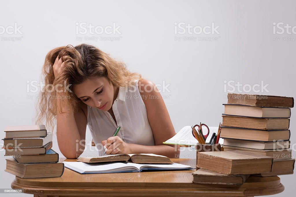 Girl is studying book royalty-free stock photo
