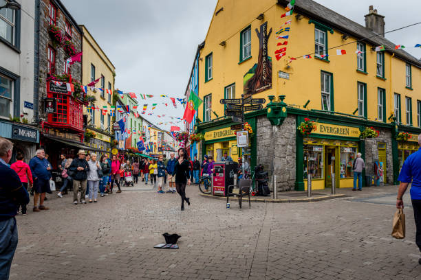 Girl is tap dancing in Galway stock photo