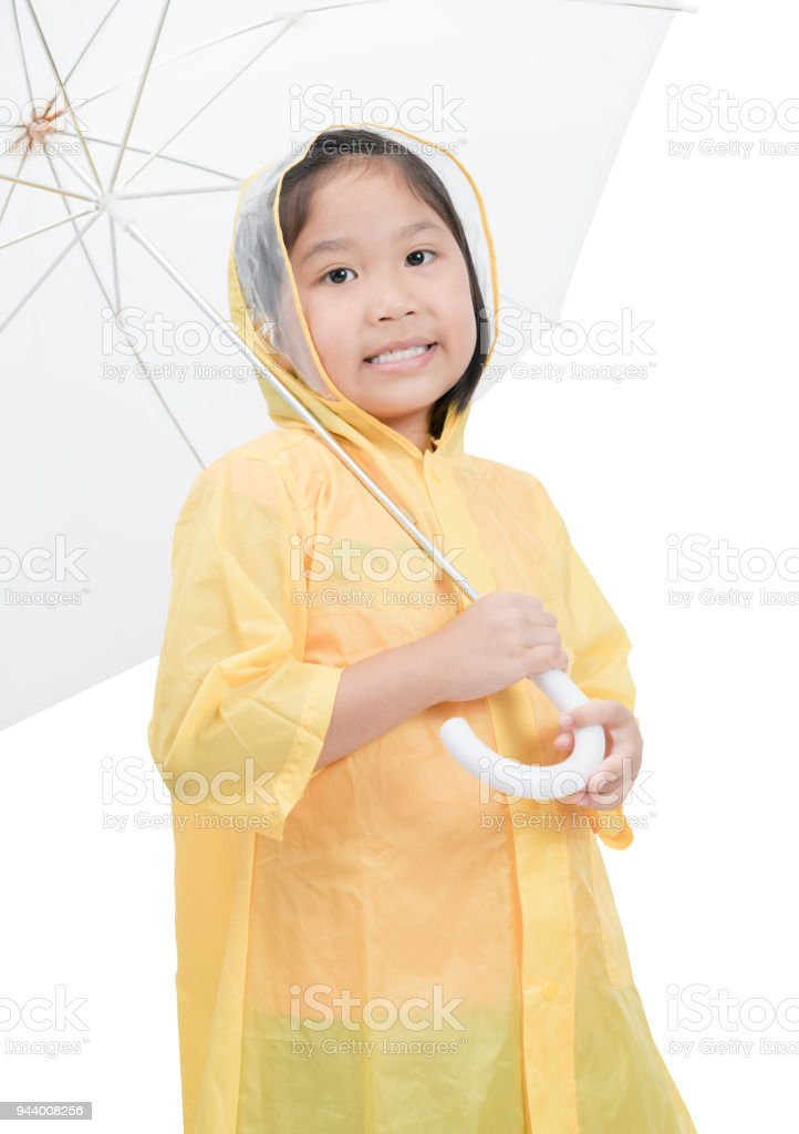 c4fc68e98 Girl Is Wearing Yellow Raincoat And Smile Stock Photo   More ...