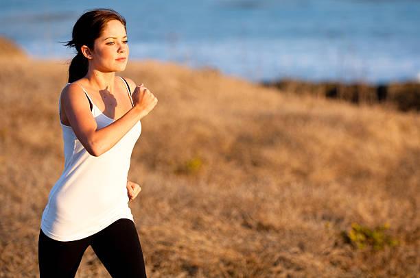 Girl Jogging stock photo