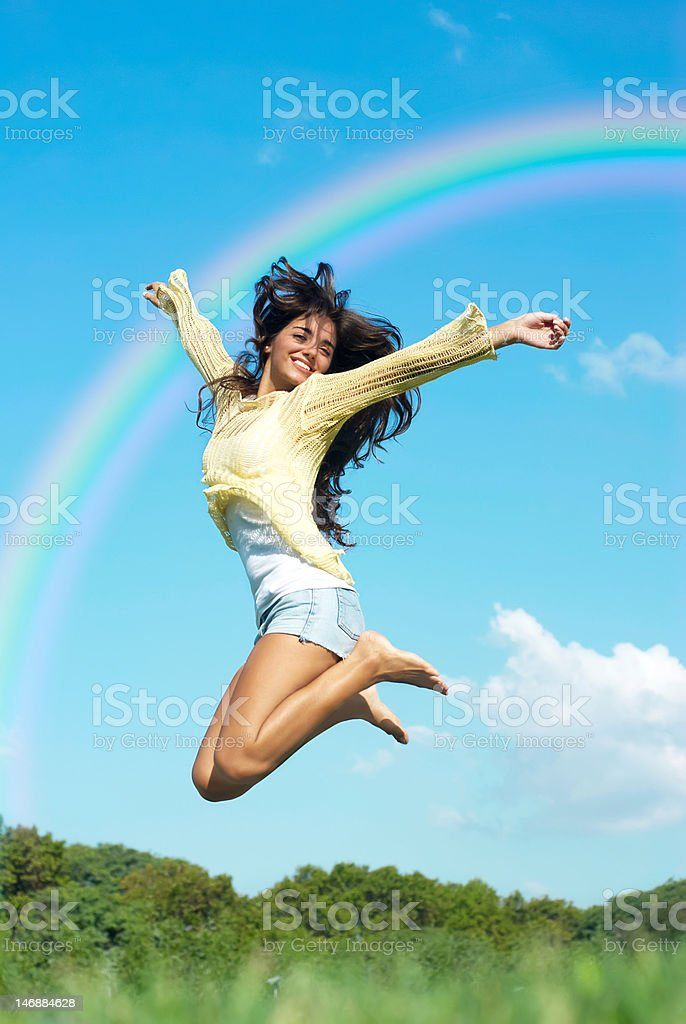 girl jump in the park royalty-free stock photo