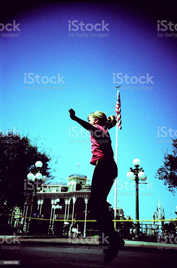 Girl jumping (LOMO) stock photo