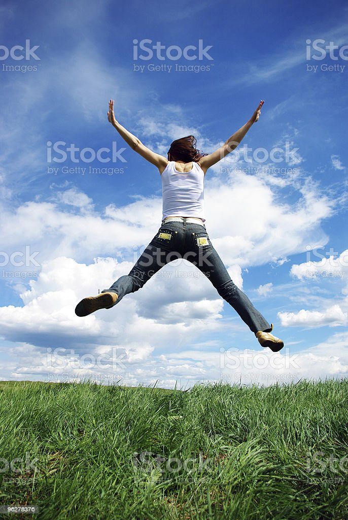 Girl jumping. royalty-free stock photo