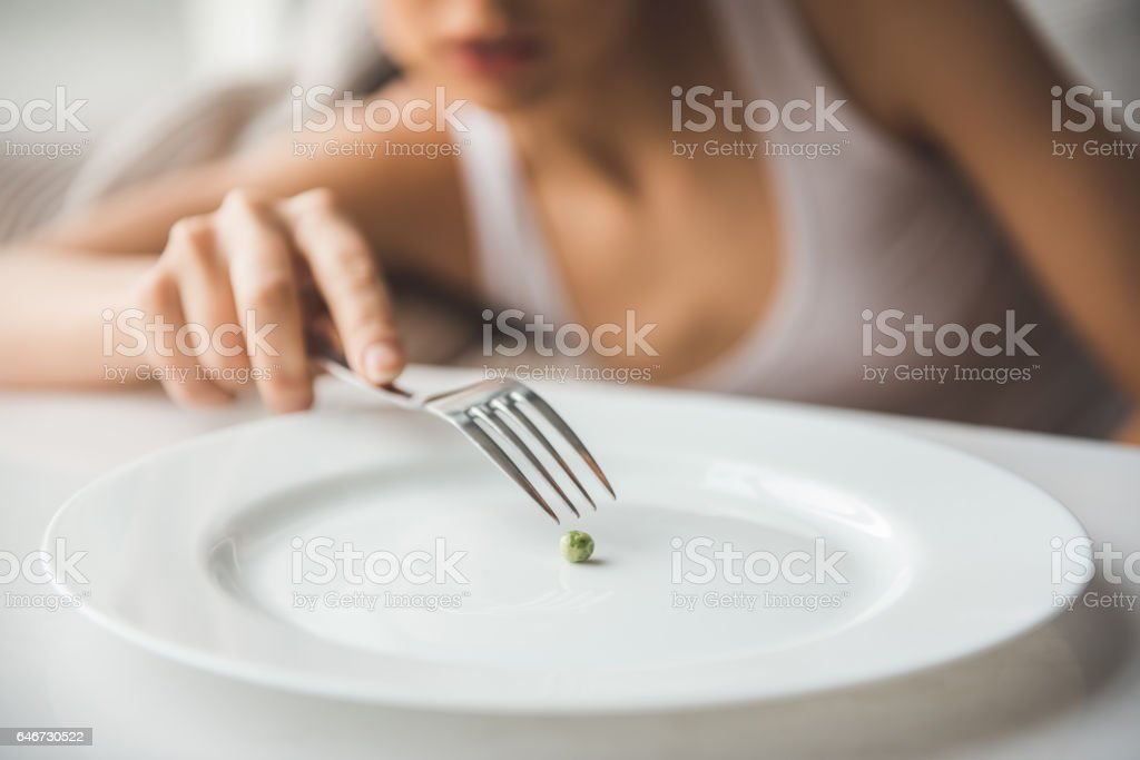 Girl keeping diet stock photo