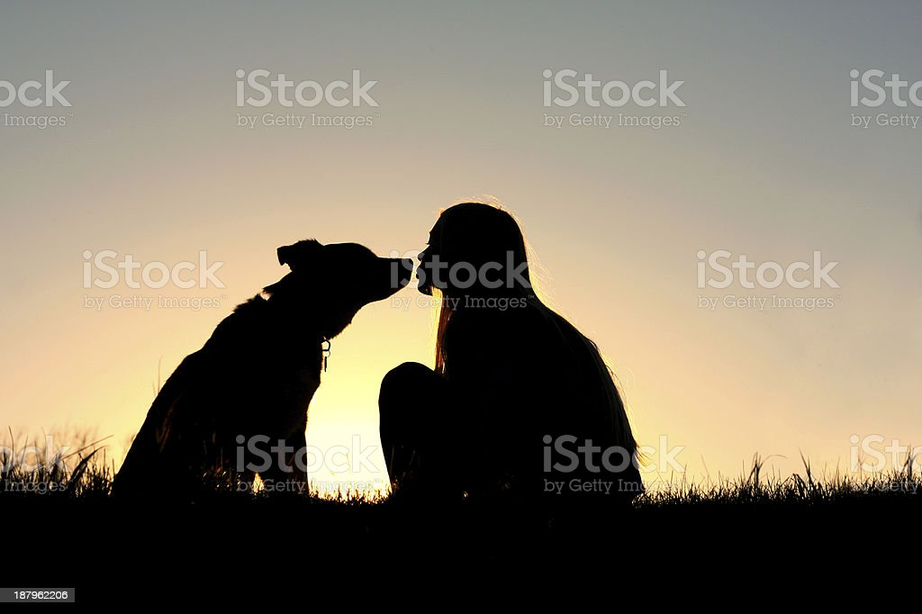 Girl Kissing Dog Silhouette stock photo